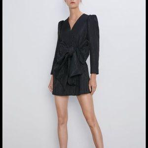 Zara puff sleeve bow detail dress